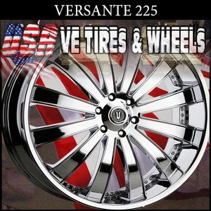 "VERSANTE 225  22"" CHROME WHEELS & TIRES FORD EDGE FORD MUSTANG KIA OPTIMA"