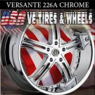 "VERSANTE 226  22"" CHROME WHEELS & TIRES  AVENGER  CHRYSLER 300M  NISSAN MAXIMA"