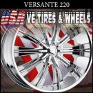 "VERSANTE 220  20"" CHROME WHEELS & TIRES CHEVY MALIBU PONTIAC G6  CHEVY COBALT"