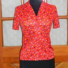 Levi Strauss Vintage Red Polka Dot Multicolor Top Short Sleeve Shirt Ladies Sz S