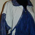 VILLE FRANCHE Blue & White Wind breaker Windbreaker Jacket Coat Women's Sz L