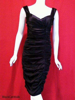 CACHE Black  Sleeveless Ruched Cocktail Dress - Size 6