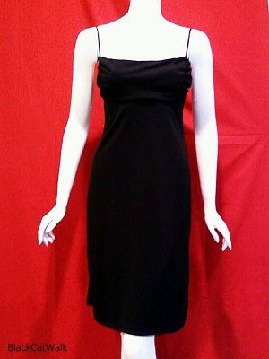 BCBG MAX AZRIA Black Spaghetti Strap Cocktail Dress - Size Small