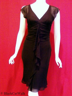 BCBG MAX AZRIA Black Split-Flutter Sleeve V-Neck Dress - Size 2