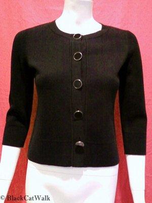 ANN TAYLOR LOFT Black Button-Up Sweeater - Size Extra Small Petite