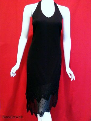 FINESSE USA Black Beaded Halter Cocktail Dress - Size (See Measurements)