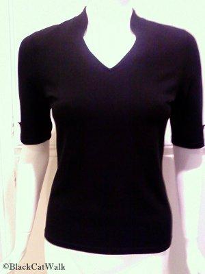 ANN TAYLOR LOFT Black Short Sleeve Knit Top - Size Small