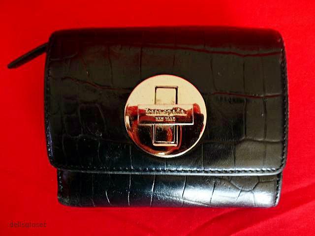 """KATE SPADE - Black Croc-Embossed Leather Carlsbad """"Lisa"""" Wallet - #WLRU0424"""