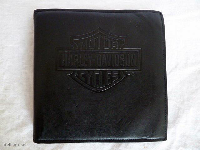 HARLEY-DAVIDSON Vintage Black Leather Embossed CD Holder/Case