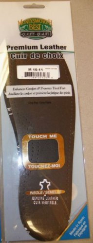 Moneysworth & Best Black Leather Shoe Insoles Inserts Orthotic Support Women's 6-7 Size