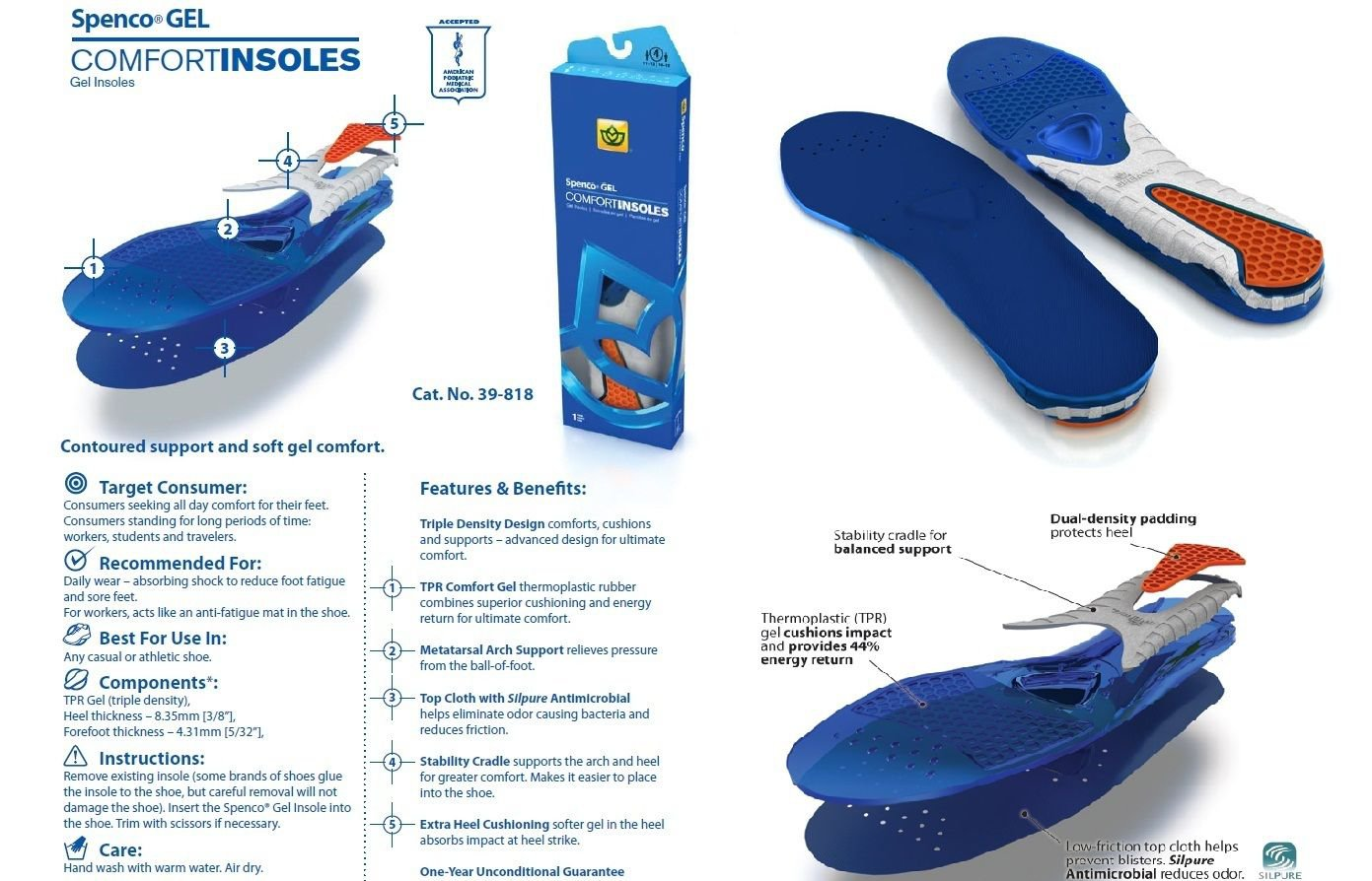 Spenco Gel Comfort Insoles Inserts Anti-Slip Support 39-818 Men's 10-11 Size