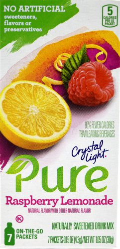 12 7-Packet Boxes Crystal Light Pure Raspberry Lemonade On The Go Drink Mix