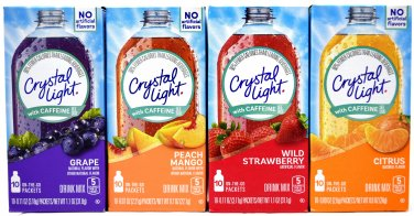 12 Boxes Crystal Light With Caffeine On The Go Variety Pack, 4 Flavors, 3 Boxes of Each Flavor