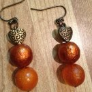 Earrings- Silver-plated mesh bows with Varied Burnt Orange Bead Dangle