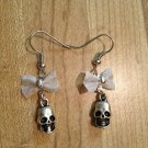 Earrings- Silver french hooks with Silver-plated mesh bows with silverskull dangle