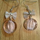 Earrings- Silver french hooks with Silver plated mesh bows and Soft Pink glass rounds dangle