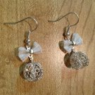Earrings- Silver french hooks with Silver plated mesh bows and Silver Wire-Wrapped Clear Spheres