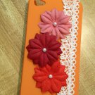 Cell Phone Couture- Iphone 4-4s Hard Case- Orange with Pink Flowers and white lace accent