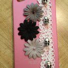 Cases-  IPhone 4, 4S Hard Case-  Pink with Lace and Silver Skulls, Flowers in Black and Gray