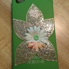 Cell Phone- Iphone 4-4s Hard Case- Green with Silver Leaves and Flower center