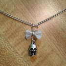 Necklace- Silver-plated mesh bow with silver skull dangle, Silver chain with lobster clasp