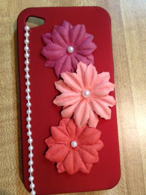 Cell Phone- Iphone 4-4s Hard Case- Red with Pink Flowers with pearl centers, Beaded Pearl accents