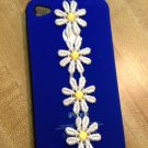 Cell Phone Couture- Iphone 4-4s Hard Case- Royal Blue Owl White and Yellow Daisy Lace
