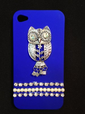 Cell Phone Couture- Iphone 4-4s Hard Case- Royal Blue Owl with Pearls and Rhinestones