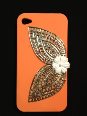 Cell Phone Couture- Iphone 4-4s Hard Case- Orange with Antique Brass Leaves