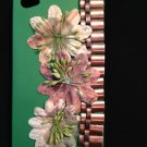 Cell Phone Couture- Iphone 4-4s Hard Case- Green with Antique Chain and Newspaper Flowers