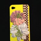 Cell Phone Couture- Iphone 4-4s Hard Case- Yellow with Antique Chain and Newspaper Flowers