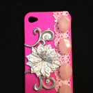 Cell Phone Couture- Iphone 4-4s Hard Case- Hot Pink with Silver Flower and Pink Stone Beads