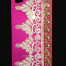 Cell Phone Couture- Iphone 4-4s Hard Case- Hot Pink with White Peaked Lace and Gold Acrylic Chaining