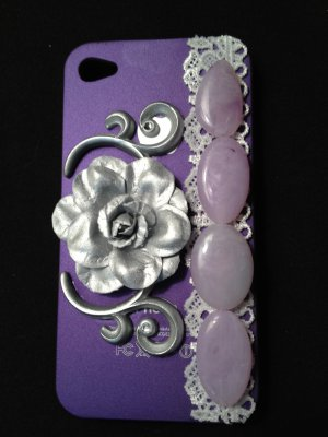 Cell Phone Couture- Iphone 4-4s Hard Case- Purple with Silver Flower and Purple Stone Beads