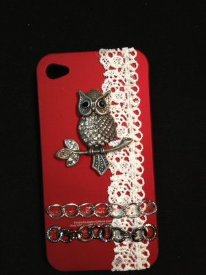 Cell Phone Couture- Iphone 4-4s Hard Case- Red with Dark Silver Owl and White Lace