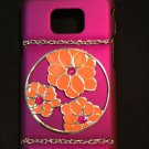 Cell Phone Couture- Samsung Galaxy S II i9100 Hard Case-Purple with Orange Flower Circle