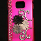 Cell Phone Couture- Samsung Galaxy S II i9100 Hard Case-Hot Pink with Black, Gray, Dark Gray Flowers