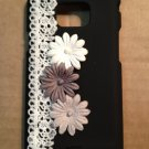 Cell Phone Couture- Samsung Galaxy S II i9100 Hard Case-Black with White, Gray, Dark Gray Flowers
