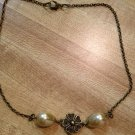 Necklace- Antique Brass Vintage Flower Finding with Cream Tear Drop Pearls
