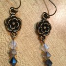 Earrings- Nickel-Free Antique Brass hooks, Antique brass flowers w- Gray Swarovsky beads