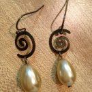 Earrings-Nickel-Free Antique Brass French hooks, Antique brass Spiral finding with Tear Drop Pearls