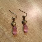 Earrings- Nickel-Free Antique Brass  hooks, Antique brass etched hearts w-Pink oval beads