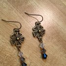 Earrings- Nickel-Free Antique Brass hooks, Brass Vintage Flowers with Gray Swarovsky beads