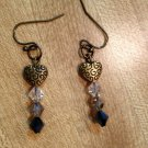 Earrings- Nickel-Free Antique Brass hooks, Antique brass etched hearts with Gray Swarovsky beads