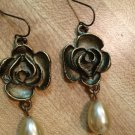 Earrings- Antique Brass Rose Finding with Cream Tear Drop Pearl