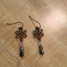 Earrings- Nickel-Free Antique Brass hooks, Antique brass lattices w- Gray Swarovsky beads