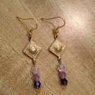 Earrings- Gold diamond-shaped finding with Purple Swarovsky Crystal Beads
