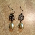 Earrings- Nickel-Free Hooks, Antique Brass Square w-Tear Drop Pearls