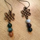 Earrings- Nickel-Free Antique Brass hooks, Brass lattice with mixed neutral sphere beads