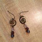 Earrings-Nickel-Free Brass French hooks, brass Spirals with Purple Swarovsky beads